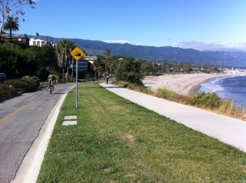 Shoreline Dr bike lane - headed to the beach